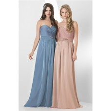 A Line Strapless Sweetheart Long Peach Chiffon Formal Occasion Bridesmaid Dress Beaded Belt