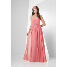 A Line Strapless Sweetheart Long Tulip Chiffon Draped Wedding Guest Bridesmaid Dress Beaded Belt