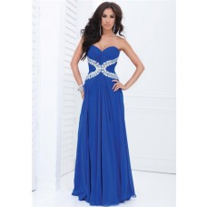 A Line Strapless Sweetheart Royal Blue Chiffon Beaded Long Prom Dress
