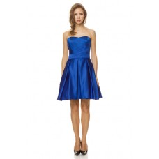 A Line Strapless Sweetheart Short Royal Blue Satin Pleated Party Bridesmaid Dress