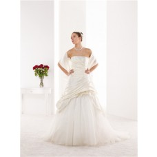 A Line Strapless Taffeta Draped Corset Wedding Dress With Flowers