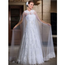 A Line Strapless Vintage Lace Tiered Wedding Dress With Cape Crystals Sash