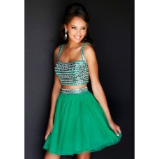 A Line Straps Short Emerald Green Organza Beaded Two Piece Cocktail Prom Dress