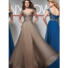 A Line Sweetheart Cap Sleeve Long Brown Chiffon Beaded Prom Dress With Straps