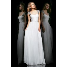 A Line Sweetheart Cap Sleeve Open Back Long White Chiffon Prom Dress Beaded Straps