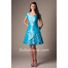 A Line Sweetheart Cap Sleeve Turquoise Blue Taffeta Prom Dress With Flowers