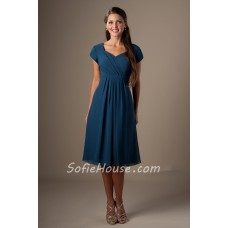 A Line Sweetheart Cap Sleeves Tea Length Navy Blue Chiffon Party Bridesmaid Dress