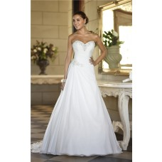 A Line Sweetheart Corset Back Chiffon Beaded Wedding Dress With Draping