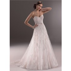 A Line Sweetheart Corset Back Lace Wedding Dress With Belt Bow