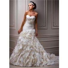 A Line Sweetheart Corset Back Layered Organza Wedding Dress With Flowers