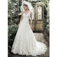 A Line Sweetheart Drop Waist Ivory Lace Corset Wedding Dress Detachable Straps