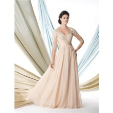 A Line Sweetheart Empire Champagne Chiffon Lace Sleeve Mother Of The Bride Evening Dress