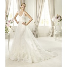 A Line Sweetheart Empire Line Ivory Lace Wedding Dress With Straps