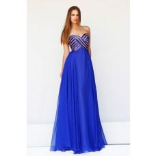 A Line Sweetheart Empire Long Royal Blue Satin Stripe Chiffon Evening Prom Dress