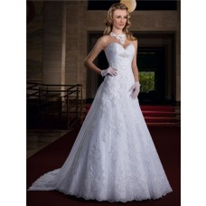 A Line Sweetheart Empire Waist Lace Glitter Wedding Dress With Train