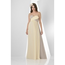 A Line Sweetheart Empire Waist Long Daffodil Beige Chiffon Two Tone Bridesmaid Dress