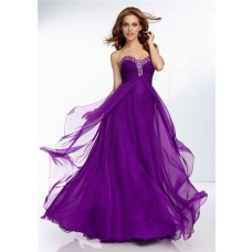 A Line Sweetheart Empire Waist Long Purple Chiffon Prom Dress Open Back
