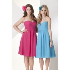 A Line Sweetheart Empire Waist Short Hot Pink Chiffon Graduation Party Bridesmaid Dress