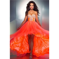 A Line Sweetheart High Low Orange Silk Tulle Beaded Party Prom Dress With Bow