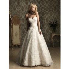 A Line Sweetheart Lace Wedding Dress With Beading Ruched Belt