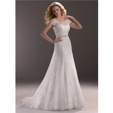 A Line Sweetheart Lace Wedding Dress With Short Sleeve Jacket Crystal Belt