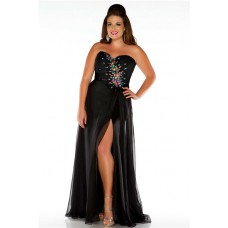 A Line Sweetheart Long Black Chiffon Beaded Plus Size Evening Prom Dress With Split