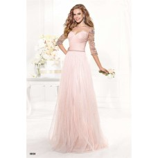 A Line Sweetheart Long Blush Pink Tulle Prom Dress With Three Quater Sleeves