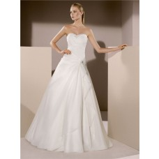 A Line Sweetheart Neckline Organza Draped Wedding Dress With Crystals