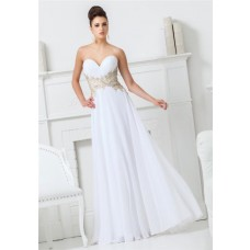 A Line Sweetheart Neckline White Chiffon Applique Beaded Long Prom Dress
