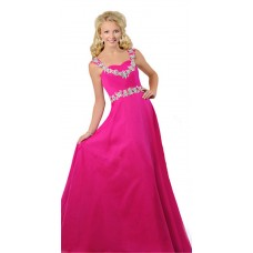 A Line Sweetheart Open Back Long Hot Pink Chiffon Beaded Teen Prom Dress
