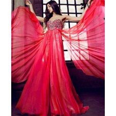 A Line Sweetheart Strapless Empire Waist Long Red Chiffon Flowing Prom Dress With Beading