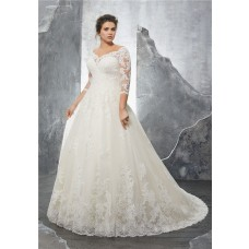 A Line Sweetheart Three Quarter Sleeve Tulle Lace Plus Size Wedding Dress