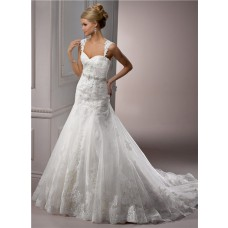 A Line Sweetheart Tulle Lace Wedding Dress With Detachable Straps Crystal