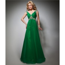 A Line V Neck Cap Sleeve Empire Long Emerald Green Chiffon Beaded Evening Prom Dress