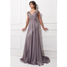 A Line V Neck Cap Sleeve Sheer Back Long Grey Chiffon Beaded Formal Occasion Evening Dress