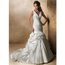 A Line V Neck Empire Waist Satin Ruched Wedding Dress Lace Up Back