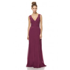 A Line V Neck Keyhole Open Back Long Burgundy Chiffon Occasion Bridesmaid Dress
