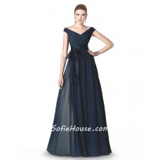 A Line V Neck Navy Blue Chiffon Draped Long Evening Dress With Bow Sash