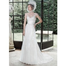 A Line V Neck Tulle Lace Wedding Dress With Sheer Straps Belt