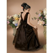 A-line Princess Scoop Floor Length Brown Organza Flower Girl Dress With Flowers Bow