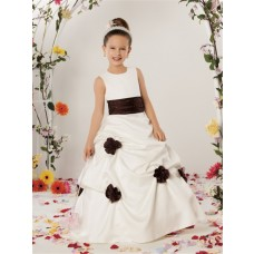 A-line Princess Scoop Floor Length Ivory Satin Designer Flower Girl Dress With Flowers Sash