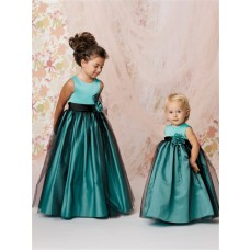 A-line Princess Scoop Floor Length Turquoise Taffeta Tulle Flower Girl Dress With Flowers Sash
