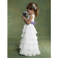 A-line Princess Scoop Floor Length White Chiffon Tiered Flower Girl Dress With Sash