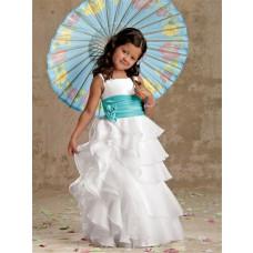 A-line Princess Scoop Floor Length White Organza Designer Flower Girl Dress With Sash Ruffles