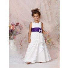 A-line Princess Scoop Floor length White Taffeta Flower Girl Dress with Flowers Purple Sash