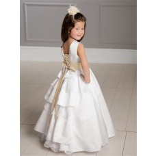 A-line Princess Scoop Floor Length White Taffeta Lace Flower Girl Dress With Sash