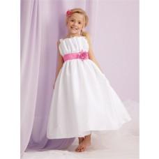 A-line Princess Spaghetti Strap Tea Length White Taffeta Flower Girl Dress With sash