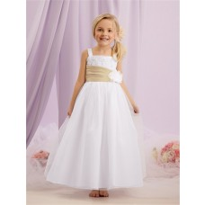 A-line Princess Straps Long White Tulle lace Flower Girl Dress With sash