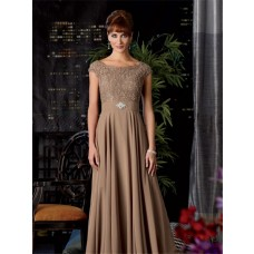 A line long brown chiffon beaded mother of the bride dress