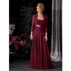 A line long burgundy chiffon mother of the bride dress with jacket